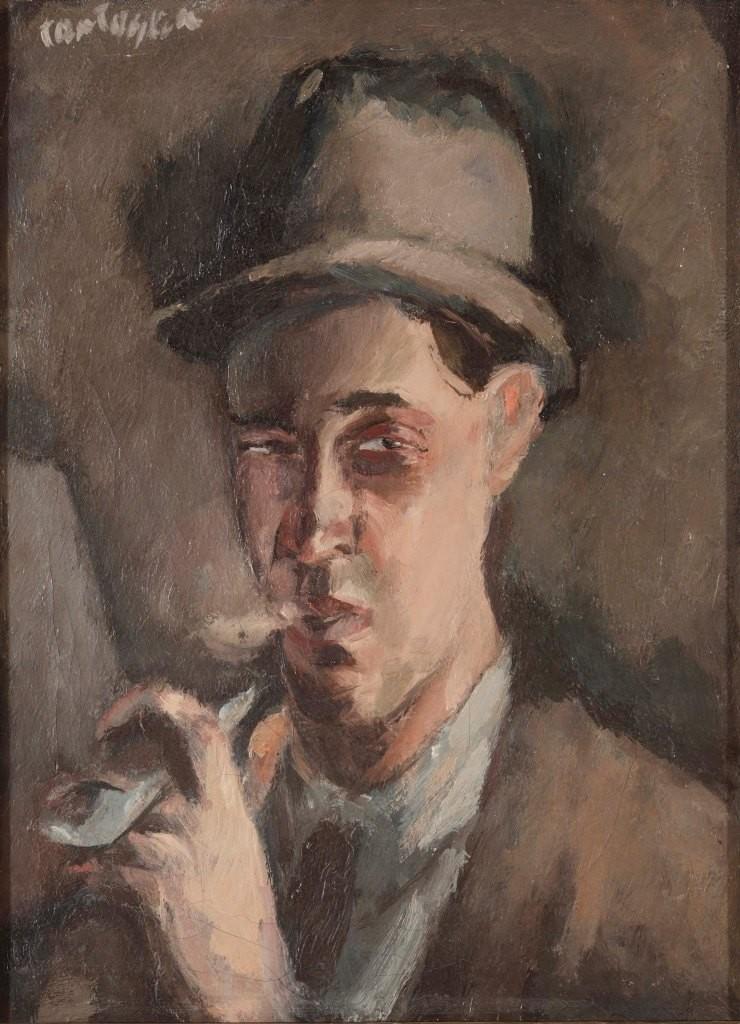 """Marino Tartalja """"Autoportret s lulom"""" 1920."""