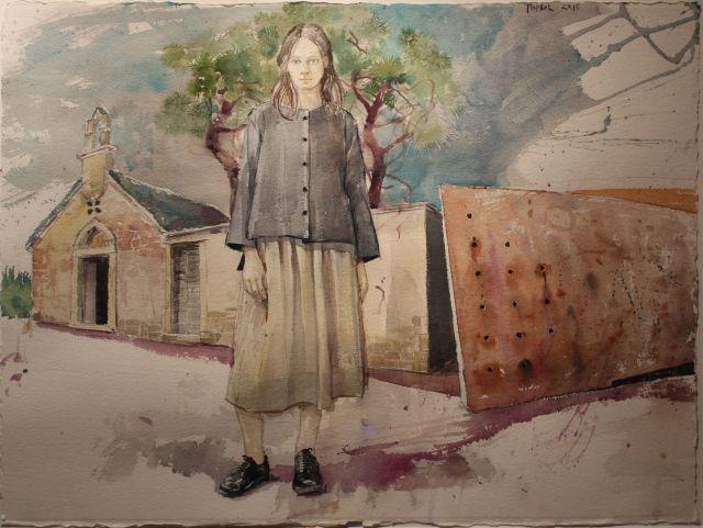 Milan Tucović, Ispred grada, akvarel, 56x76 (2015)