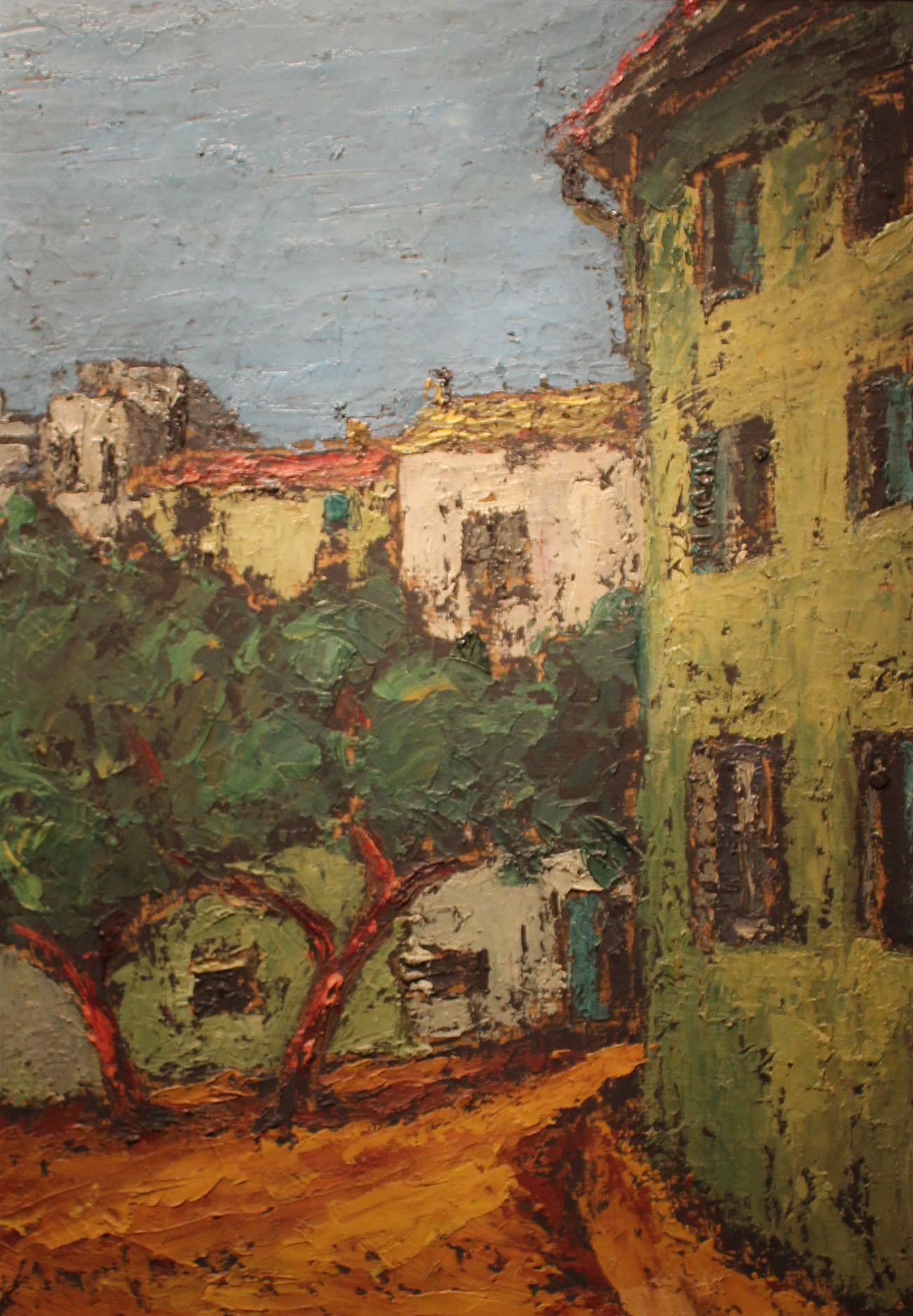 Stojan Aralica, Motiv iz Istre, ulje na kartonu, 72,5x51 (1972)